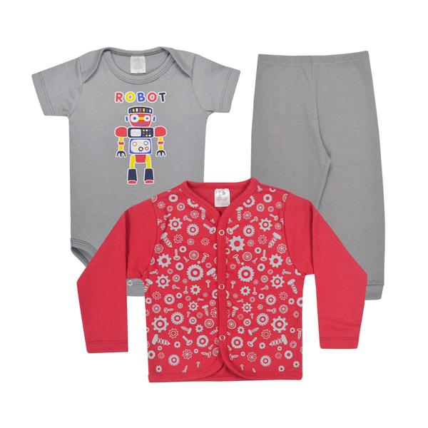 kit body bebe 3 pecas pagao robo cinza e vermelho vestir com amor