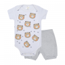 conjunto bebe body e shorts pagao urso mescla c canaa