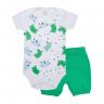 conjunto bebe body e shorts pagao gatinho verde dino kids