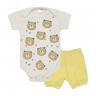 conjunto bebe body e shorts pagao urso amarelo dino kids