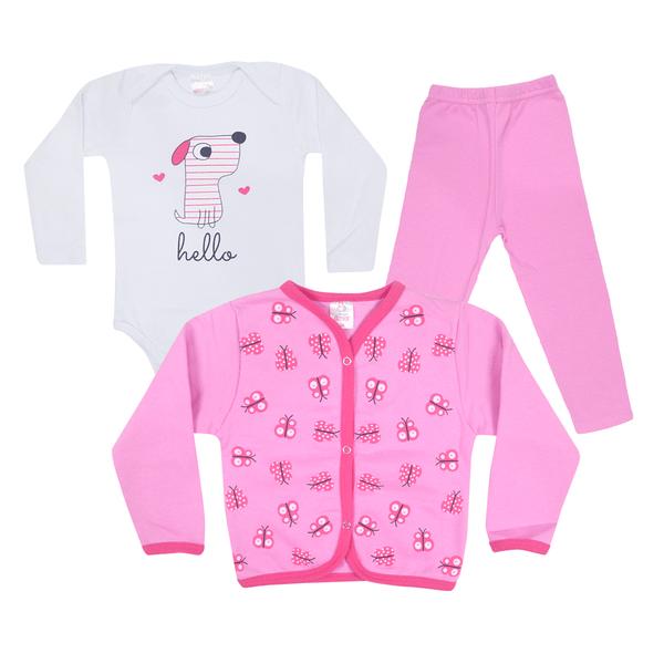 kit body 3 pecas de moletom peluciado cachorro rosa vestir com amor