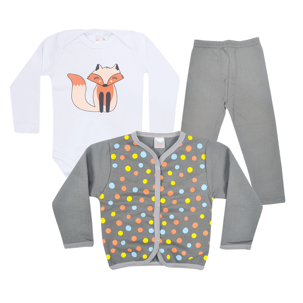kit body bebe 3 pecas de moletom peluciado raposa cinza vestir com amor