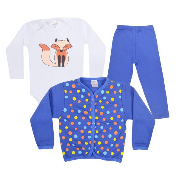 kit body bebe 3 pecas de moletom peluciado raposa royal vestir com amor