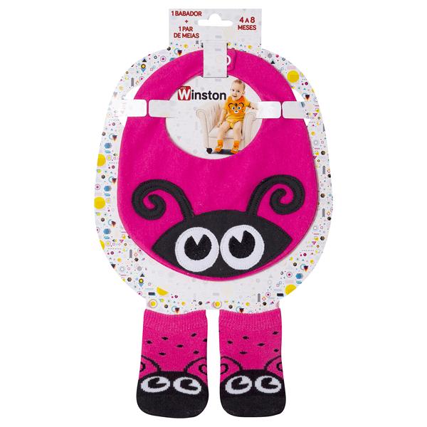 kit fun socks babador e meias joaninha pink winston