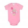 body bebe pagao manga curta urso balao rosa vestir com amor