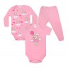kit body bebe 3 pecas pagao urso balao rosa vestir com amor