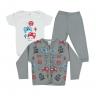 kit body bebe 3 pecas pagao game cinza vestir com amor