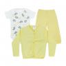 kit body bebe 3 pecas pagao elefante amarelo dino kids