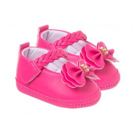 sapatilha bebe com laco pink keto baby
