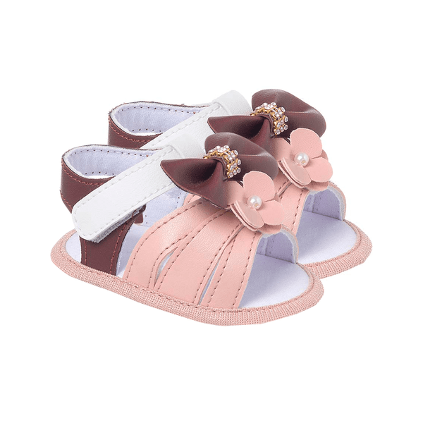 sandalia bebe com laco rosa keto baby