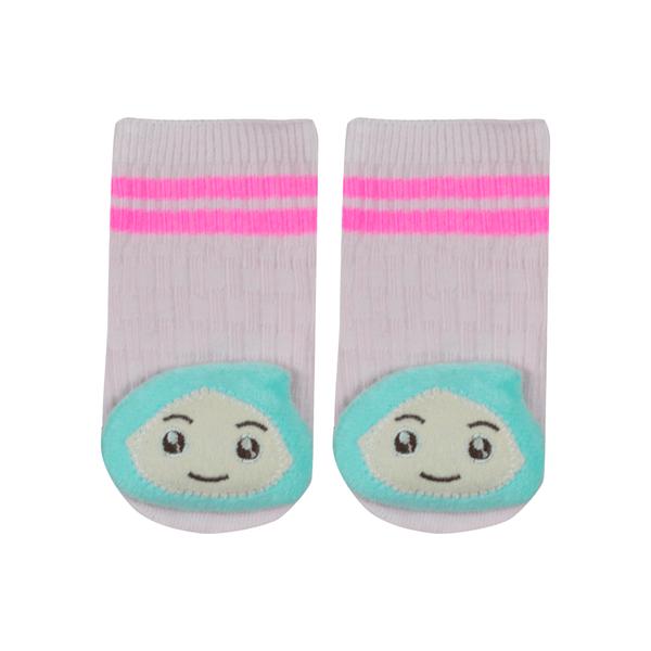 meias fun socks com pelucia de gota rosa nicecotton