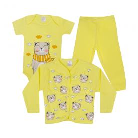 kit body bebe 3 pecas pagao urso cachecol amarelo dino kids