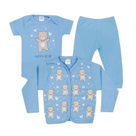kit body bebe 3 pecas pagao urso coracao azul dino kids