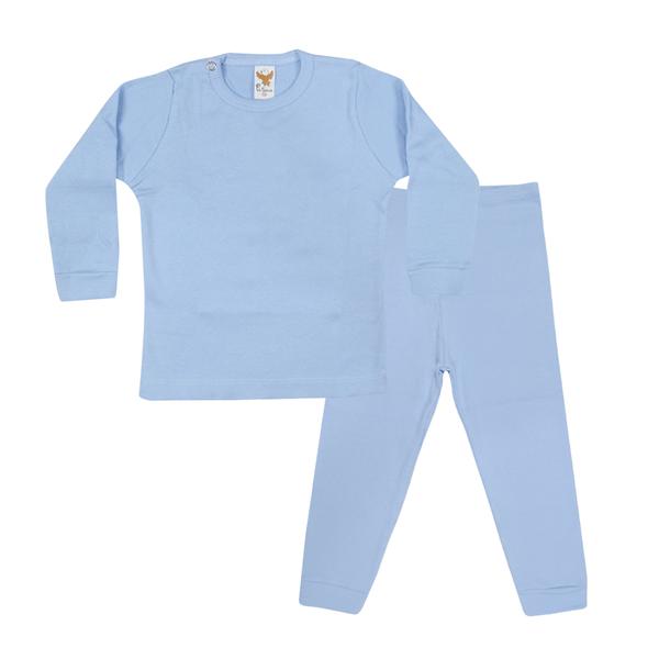conjunto bebe blusa e calca azul c canaa