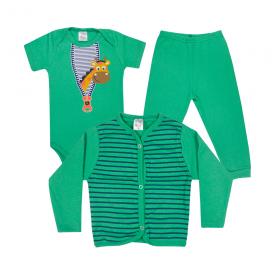 kit infantil 3 pecas pagao girafa verde vestir com amor