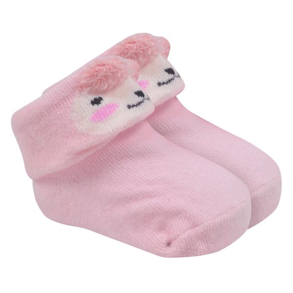 meias fun socks com orelinhas de urso rosa baby socks