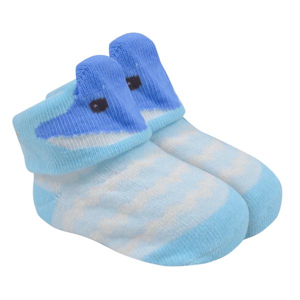 meias fun socks com orelinhas de baleia azul baby socks
