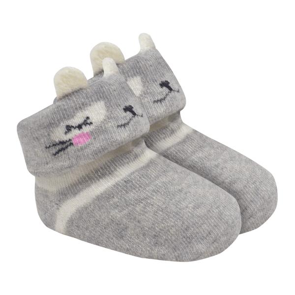 meias fun socks com orelinhas de urso mescla baby socks