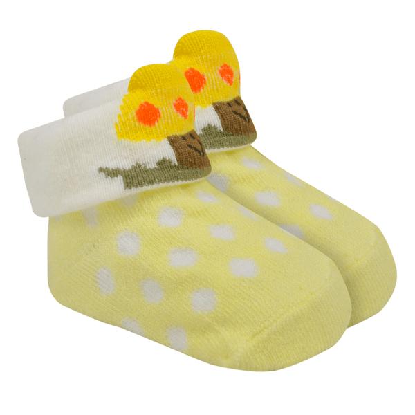 meias fun socks com orelinhas de cogumelo amarelo baby socks