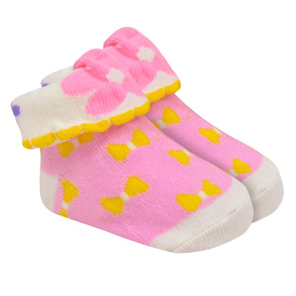 meias fun socks com orelinhas de flor rosa baby socks