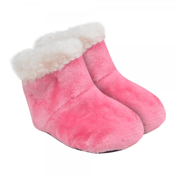 bota bebe unissex rosa peluciada e forrada baby socks