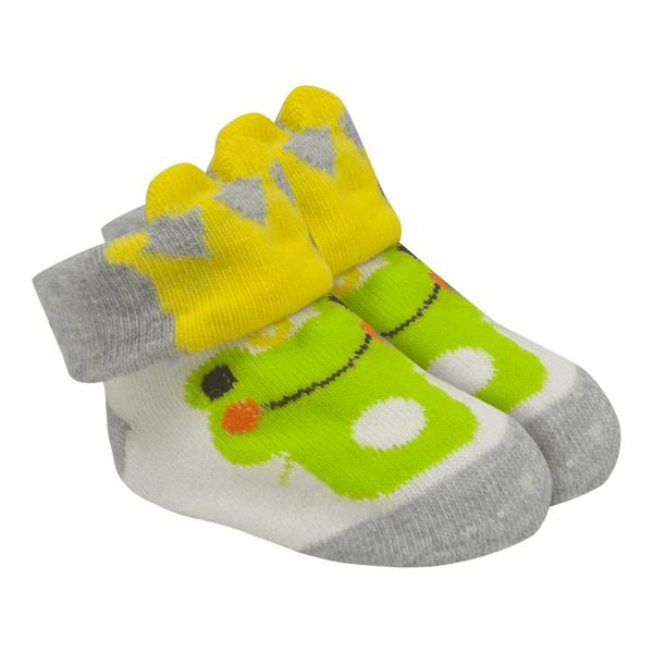 meias fun socks com orelinhas de sapinho mescla baby socks