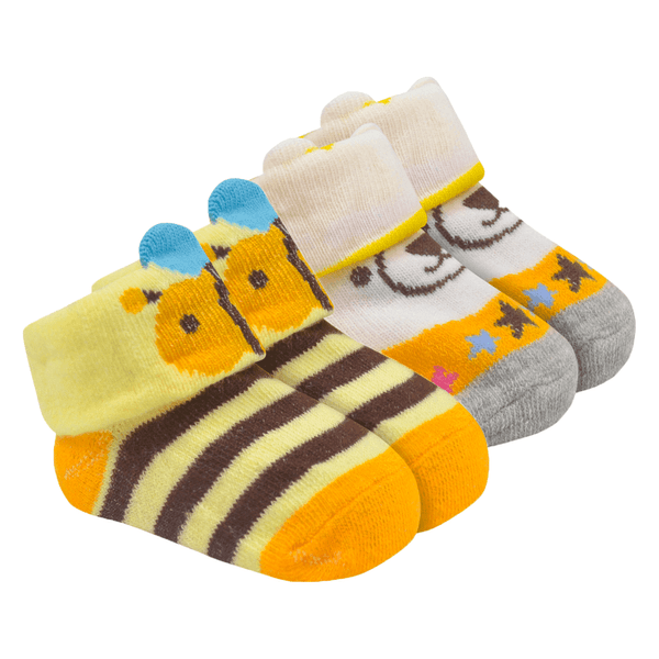kit 2 meias baby socks unissex amarelo e perola baby socks