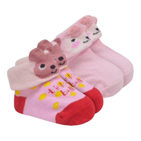 kit 2 meias baby socks femenino rosa baby socks