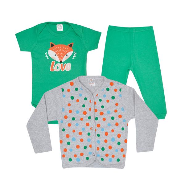 kit body bebe 3 pecas pagao raposa verde e mescla vestir com amor