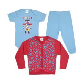 kit body bebe 3 pecas pagao robo azul e vermelho vestir com amor
