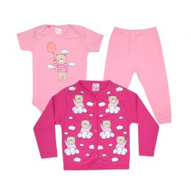 kit body bebe 3 pecas pagao urso balao rosa e pink vestir com amor