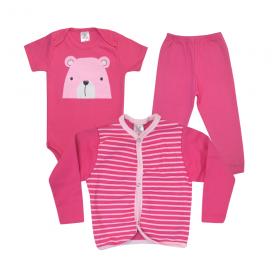 kit body bebe 3 pecas pagao urso pink e chiclete dino kids