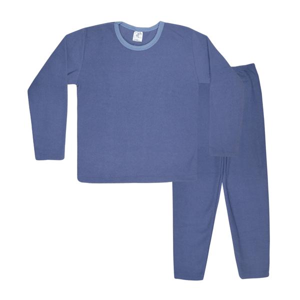 conjunto infantil de boucle blusao e calca azul jeans c canaa