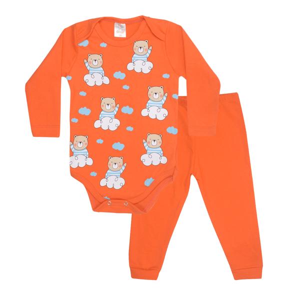 conjunto bebe body e calca pagao envelope urso balao laranja dino kids