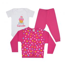 kit body bebe 3 pecas pagao cupcake pink dino kids 1