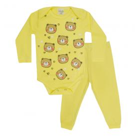 conjunto bebe body e calca pagao envelope urso amarelo lmol baby