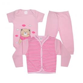 kit body bebe 3 pecas pagao urso cachecol rosa lmol baby
