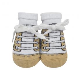meias chuteiras fun socks com cadarco bege baby socks 2
