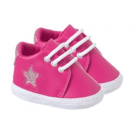 tenis bebe feminino com estrela pink keto baby