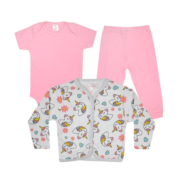 kit body bebe 3 pecas pagao unicornio rosa dino kids