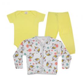 kit body bebe 3 pecas pagao unicornio amarelo dino kids