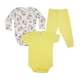 kit body bebe 3 pecas pagao unicornio amarelo vestir com amor
