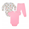 kit body bebe 3 pecas pagao unicornio rosa vestir com amor