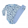 conjunto infantil body e calca de suedine peixe azul c canaa