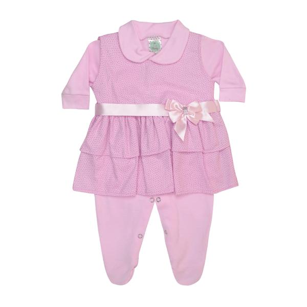 macacao de suedine com vestido bebe rosa sati baby 2