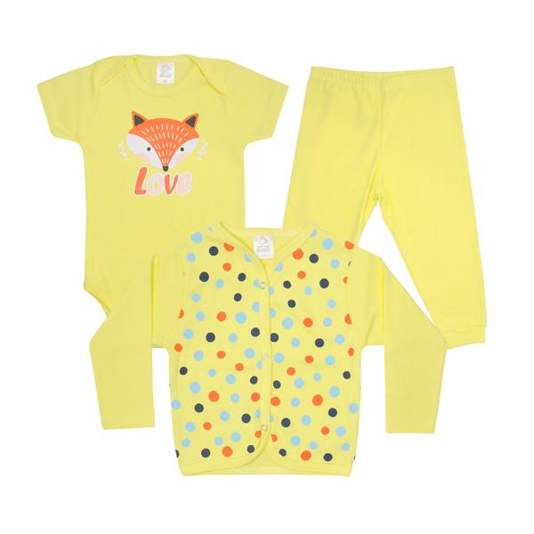 kit body bebe 3 pecas pagao raposa amarelo lmol baby