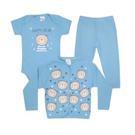 kit body bebe 3 pecas pagao urso azul lmol baby