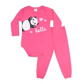 conjunto bebe body e calca pagao envelope panda pink lmol baby