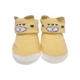 meias fun socks com orelinhas de urso bege baby socks