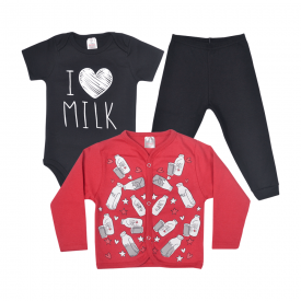 kit body bebe 3 pecas pagao milk preto e vermelho lmol baby